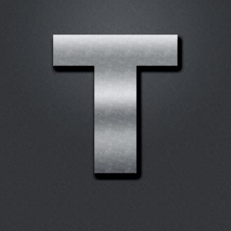 chromium: Letter shabby metal chromium. Letter shabby metal T