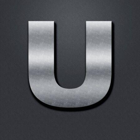 chromium: Letter shabby metal chromium. Letter shabby metal U