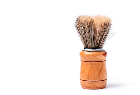 daily use item: Old shaving brush isolated on white background. Stock Photo