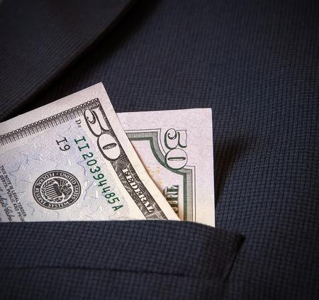 american banker: Fifty American dollars in my pocket mens jacket.