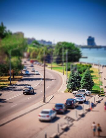 the daily grind: Street traffic, miniature illusion applied. Miniature illusion applied