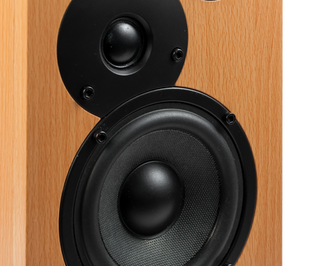 sub woofer: Speaker isolated on white background. Audio speakers in a wooden case