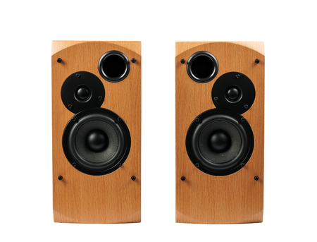 Speaker isolated on white background. Audio speakers in a wooden case