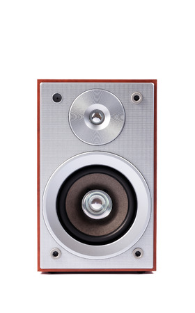 sound system: Stereo sound system isolated on white background. Stereo speakers in wooden case Stock Photo