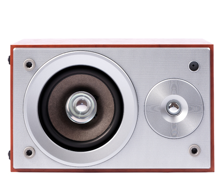 hi fi: Stereo sound system isolated on white background. Stereo speakers in wooden case Stock Photo