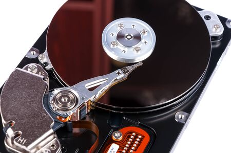 hard drive crash: Hard disk open isolated on white background. Hard disk