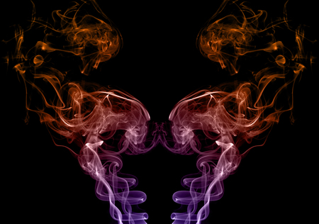 colored smoke: Photo collection of colored smoke on a black background. Abstract backgrounds colored smoke. Texture of colored smoke Stock Photo