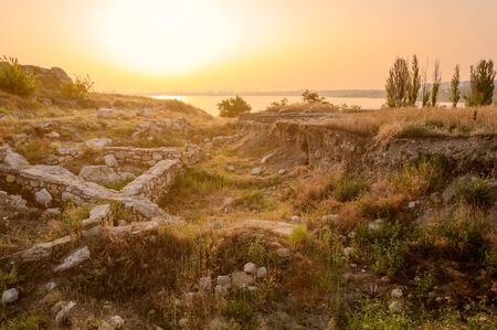 excavations: Excavations of the ancient city in Crimea. Journey through ancient Crimea Stock Photo