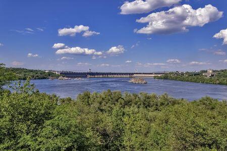 Landscape from the island Khortytsya Zaporozhye on hydroelectric power station