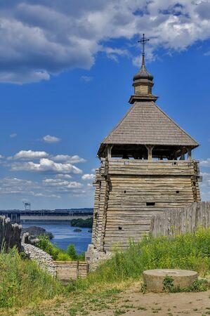 The Zaporozhian Sich on the island of Khortytsya, Ukraine. Kosh and Faubourg