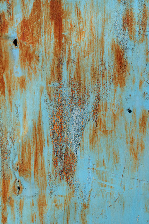 Texture and background old rusty metal with blue paint