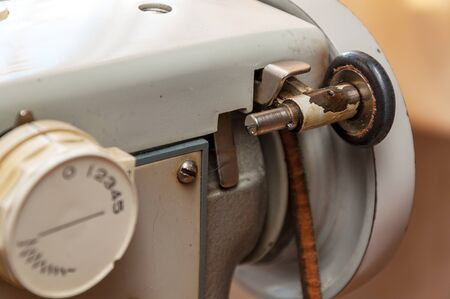 Details of an old sewing machine close-up