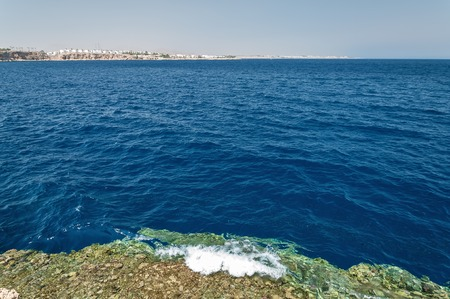 The coast of the red sea with the Sinai mountains in Egypt. Stock Photo