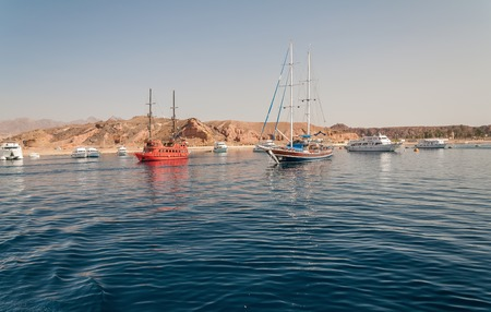 Sinai mountains and picturesque landscapes of the red sea in Egypt. Boat trip on the red sea. Stok Fotoğraf - 119135009