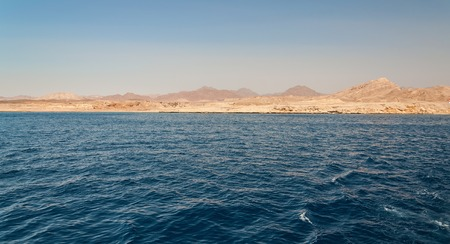 Sinai mountains and picturesque landscapes of the red sea in Egypt. Boat trip on the red sea.