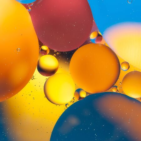 Beautiful abstract background, macro of oil mixed with water.