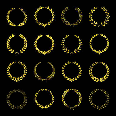 Golden Laurel wreath. Awards  with stars Isolated elegant abstract gold emblem. Luxurious congratulating framed template. 向量圖像