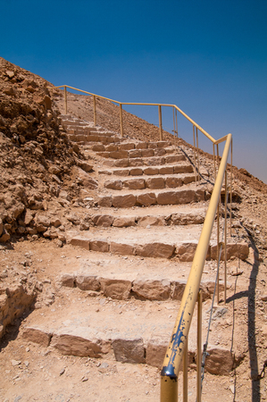 A rocky staircase on the Snake Path at Masada Israel.