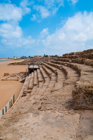 Rows of seating at the Hippodrome of Caesarea, Israel. Editorial