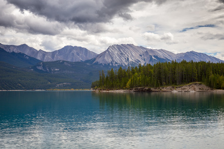 View of Abraham Lake on a cloudy afternoon.