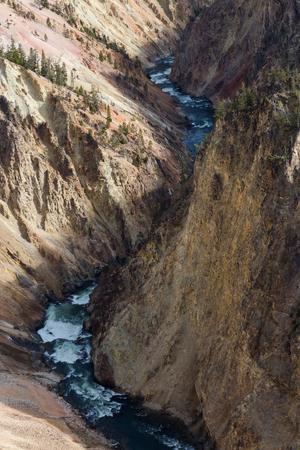 The Yellowstone River runs through the bottom of the Grand Canyon of Yellowstone. Reklamní fotografie - 77274241