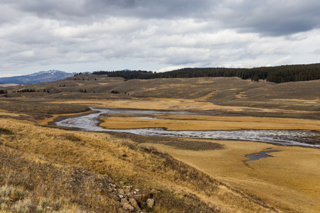 View of the Hayden Valley in Yellowstone National Park. Banco de Imagens