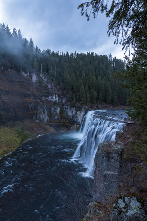 messa: Upper Messa Falls in Idaho, USA on a cloudy afternoon.