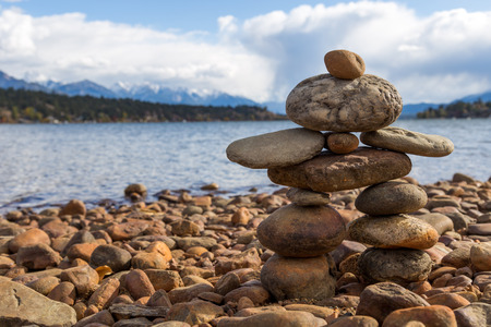 A small stone inukshuk on Kinsmen Beach in Invermere BC.