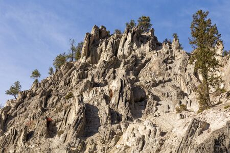 View of a mountain top at Sinclair Canyon near Radium Hot Springs.