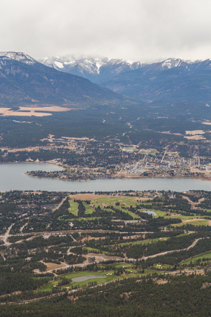 Aerial View of the Town of Invermere BC.