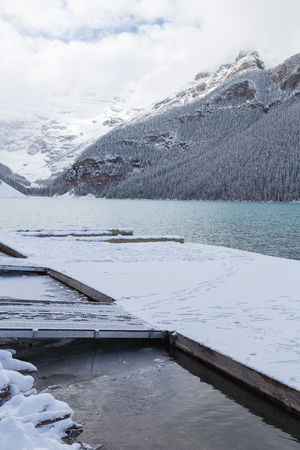Dock on Lake Louise in Banff National Park, Canada.