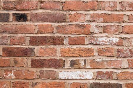 Closeup of a red brick wall.