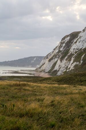 View of the White Cliffs of Dover on a cloudy day. Stok Fotoğraf