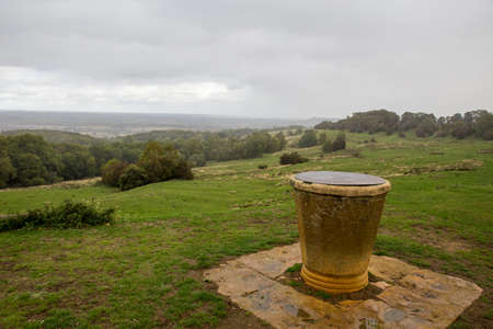 Stone monument atop Dover's Hill on a rainy afternoon.