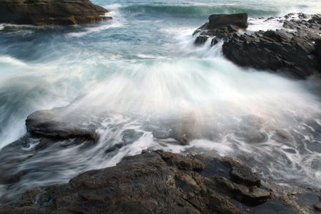 Crashing wave in motion photo