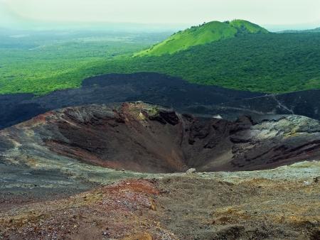 Crater of the volcano Cerro Negro, near Leon, Nicaragua Stock Photo