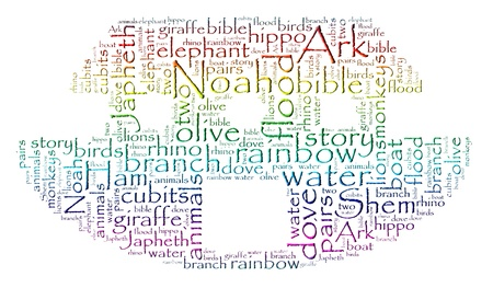 Noah s Ark Rainbow Word Cloud photo