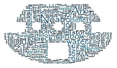 Noah s Ark Word Cloud Stroke Outline Stockfoto