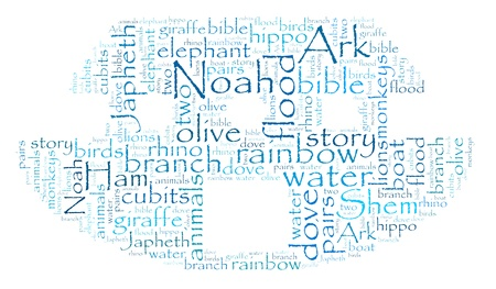 Noah s Ark Word Cloud on White photo