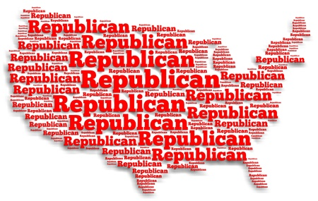 opinion: Word cloud map of the United States of America with the word Republican filling up all of the space Stock Photo