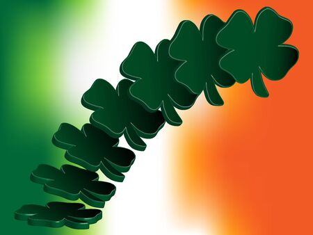 seventeenth: 3D four leaf clovers fly upright on a background consisting of the colors of the Irish national flag