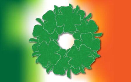 seventeenth: Lucky four leaf clovers in a wreath shape over an Irish Flag
