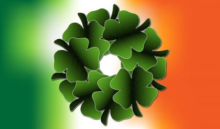 A four leaf clover wreath set as the centre of an Irish Flag background Stock Photo - 18011933