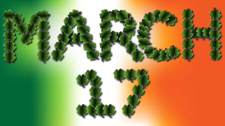 march 17: The words  March 17  spelled in four leaf clovers over top of an Irish flag colored background