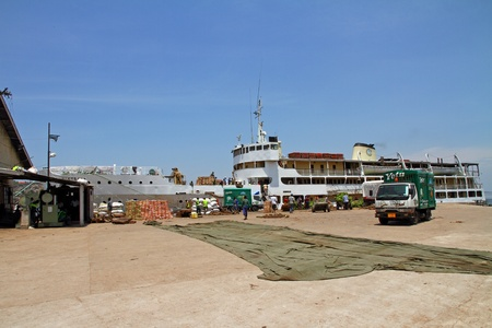 mwanza: The Mwanza ferry being loaded at the terminal on Lake Victoria, Tanzania