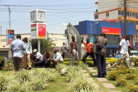 mwanza: Locals gather to have their portraits taken at a city icon, the fish fountain,  in Mwanza, Tanzania Editorial