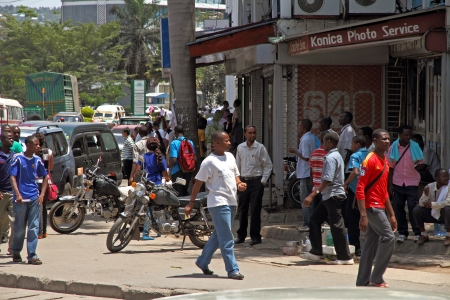 mwanza: A street corner in Mwanza, Tanzania bustles with daily activity Editorial