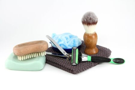 A collection of the simple items a rugged man needs in the bathroom. photo