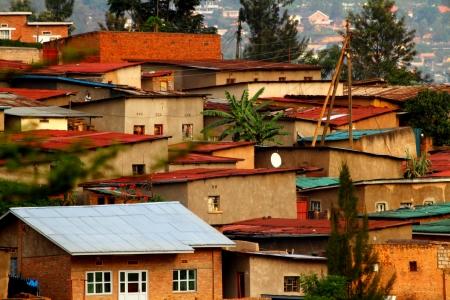 hillside: Colorful hillside homes in Kigali, Rwanda
