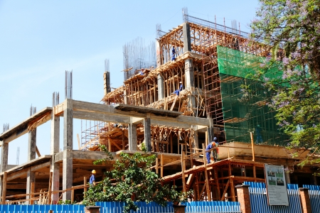 A downtown office building under construction in Kigali, Rwanda.